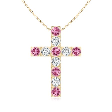 1f11f2c8acc48 October Birthstone Pendant Necklaces - Flat Prong-Set Pink Tourmaline and  Diamond Cross Pendant in 14K Yellow Gold (2.5mm Pink Tourmaline) - ...