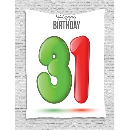 31st Birthday Decorations Tapestry 3D Style Volume Figure Number 31 Greeting Celebration Theme Wall