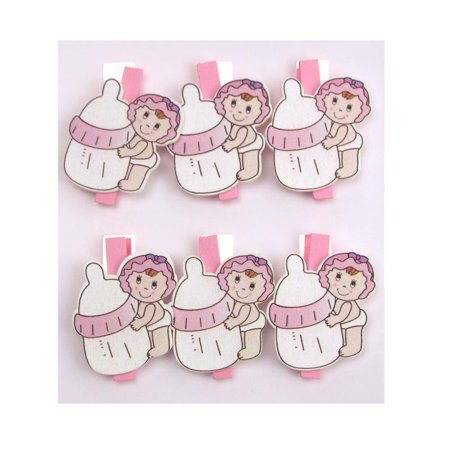 Clothespins For Baby Shower (Milk Bottle Baby Wooden Clothespins Favors, 2-Inch, 6-Piece,)