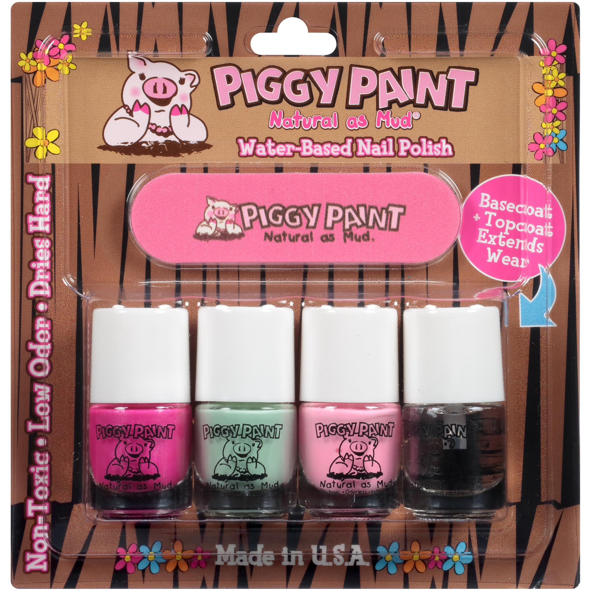 Piggy Paint - four pack Nail Polish LOL, Mint to Be, PINKie, & top coat