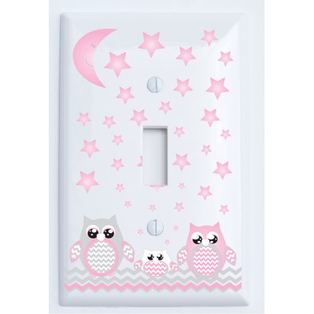 Grey and Pink Owl Light Switch Plate Covers Single Toggle   Owl Nursery Wall  Decor - Walmart.com b8d3bf10e