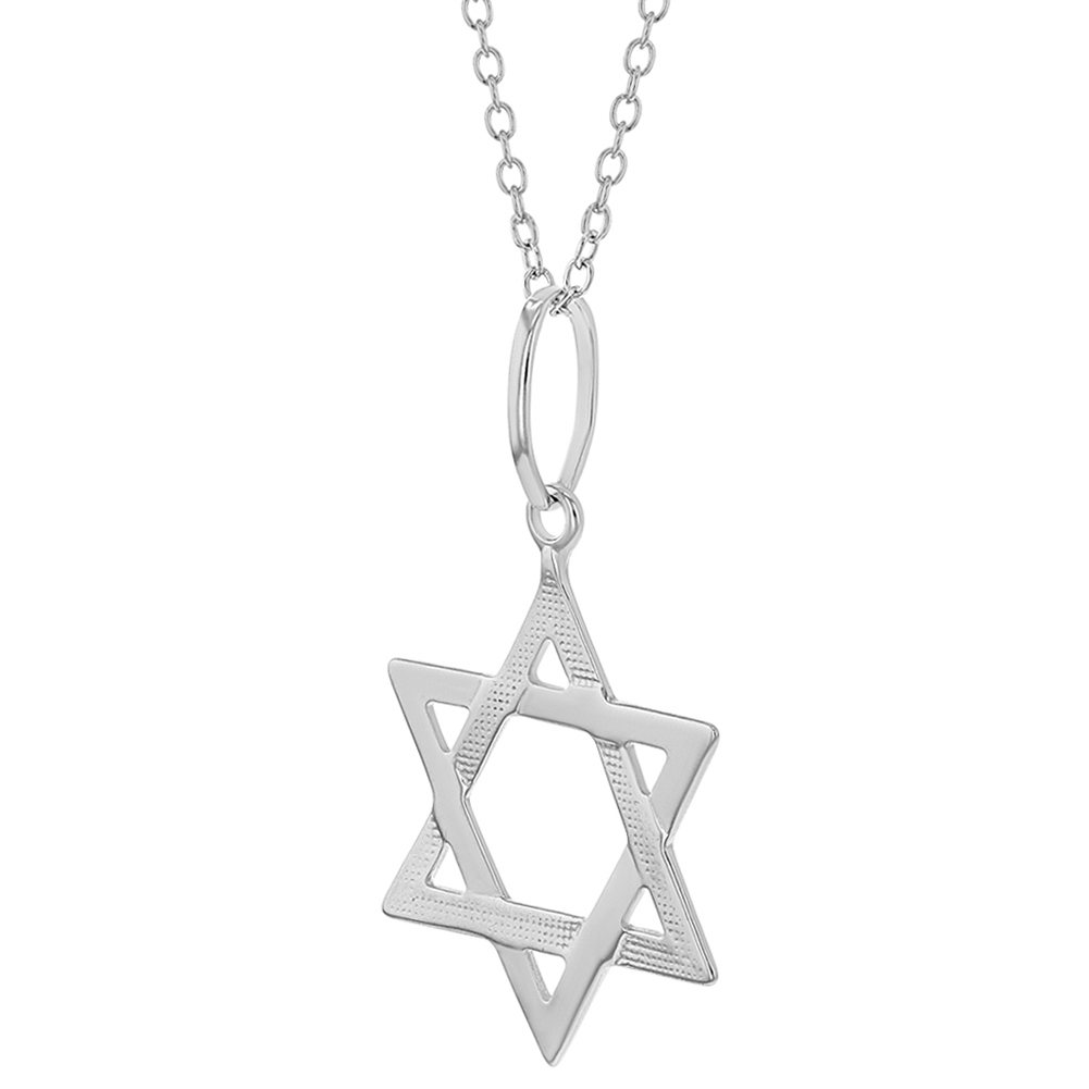 Open Design Jewish Star of David Pendant Necklace 925 Sterling Silver