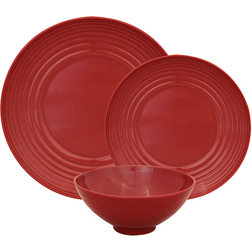 Gourmet Home Products Ribbed Bamboo Melamine 12-Piece Dinnerware Set