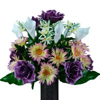 Sympathy Silks Artificial Cemetery Flowers - Realistic - Outdoor Grave Decorations - Non-Bleed Colors, and Easy Fit - Lavender Daisy & Purple Rose Calla Lily Bouquet