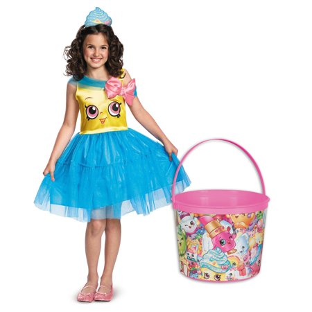 Shopkins Cupcake Queen Deluxe Child Costume and Candy Pail Bundle - Medium (Cupcake Costume Diy)