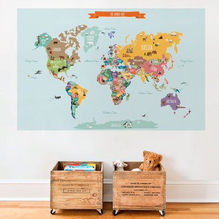 Countries of the World Map Poster Wall Sticker
