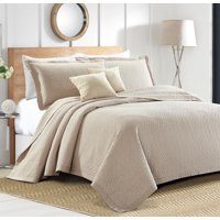Sherry Kline Out of the Box Embroidered 3-piece Queen Taupe Cotton Quilt Set