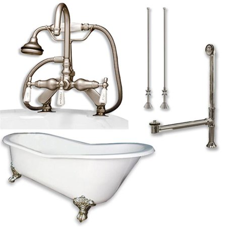 Traditional 61' Cast (Cambridge Plumbing ST61-684D-PKG-BN-7DH Cast Iron Slipper Clawfoot Tub, Brushed Nickel - 61 x 30 in.)