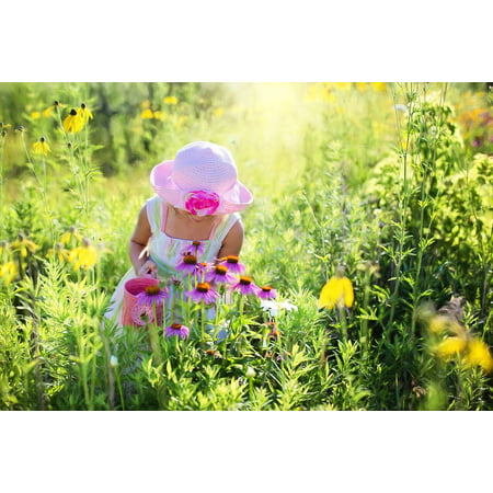 LAMINATED POSTER Meadow Little Girl Child Happiness Wildflowers Poster Print 24 x - Wildflower Girls