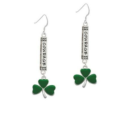 Large Green Shamrock - Courage Bar French Earrings