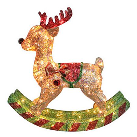 Noma Inliten Import V53945 88 Gold Mesh Rocking Horse Christmas Lawn Decoration Lighted 36 In