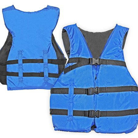 Basic Coast Guard Approved Life Jacket (Blue), Designed to fit any person over 90lbs. By Hardcore Water Sports Coast Guard Approved Type