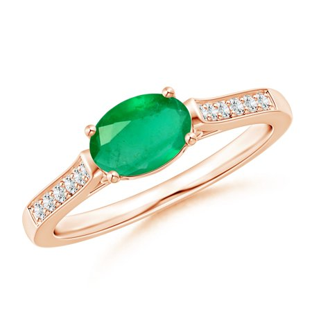 May Birthstone Ring - East West Oval Emerald Solitaire Ring with Diamonds in 14K Rose Gold (7x5mm Emerald) - SR0737ED-RG-A-7x5-7 (Oval Emerald Solitaire Ring)
