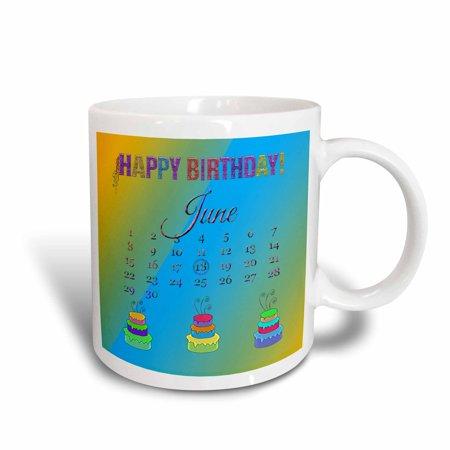 3dRose June 18th, Glitter Look Happy Birthday, Ribbon Streamers, Colorful Cakes, Ceramic Mug, 11-ounce