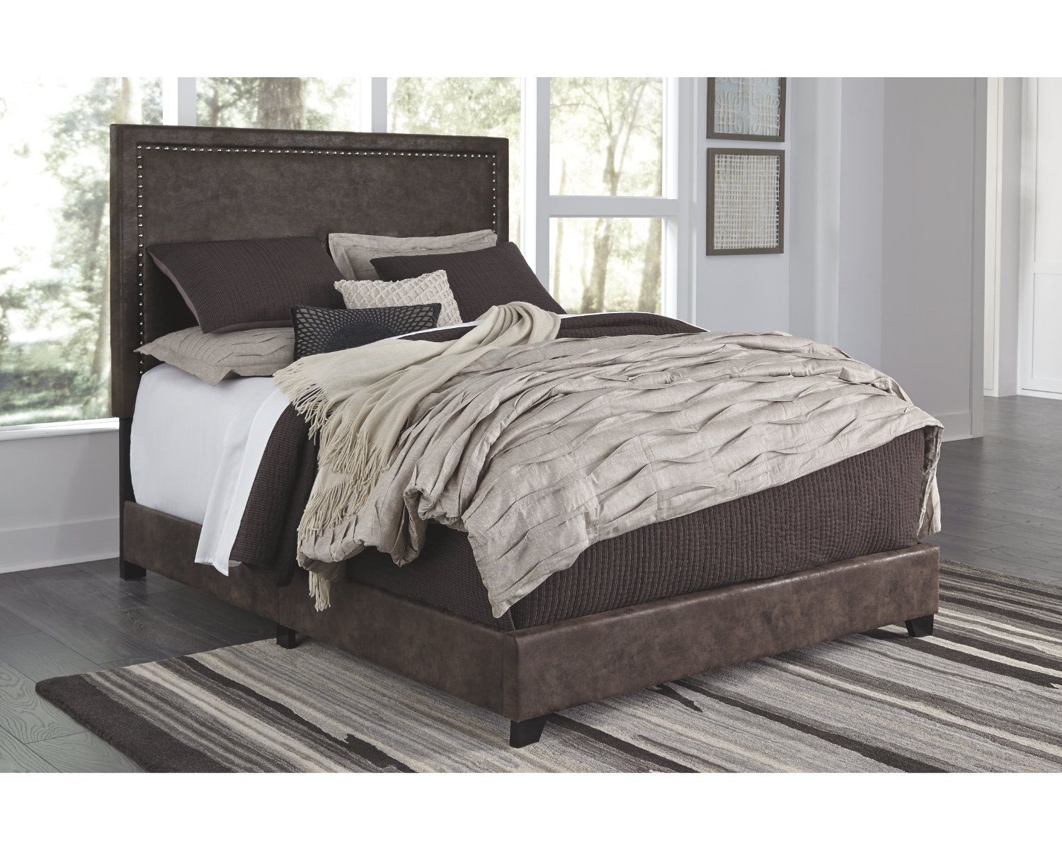 Signature Design By Ashley Dolante Brown Queen Upholstered Bed Walmart Com Walmart Com