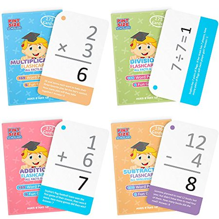 Pint-Size Scholars Math Mastery Bundle: 715 Self-Checking Flashcards with Word Problems All Addition Multiplication Division Facts 0-12 and All Subtraction Minuends 0-18 - image 1 of 4