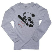 Panda Baseball - Cute Happy Sports Panda Bear Men's Long Sleeve Grey T-Shirt