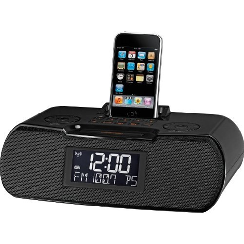 Sangean AM/FM-RDS Atomic Clock Radio with iPod Dock, Black