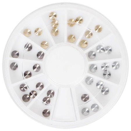 BMC Ornate 36pc 4mm Multicolored Metal Embossed Nail Polish Art Accessory Round Disc Stud -