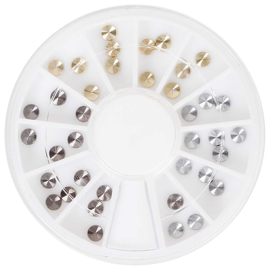BMC Ornate 36pc 4mm Multicolored Metal Embossed Nail Polish Art Accessory Round Disc Stud Flatback