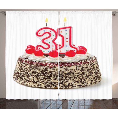 31st Birthday Decorations Curtains 2 Panels Set Cake Thirty One Candles Chocolaty Desert Cherries Surprise