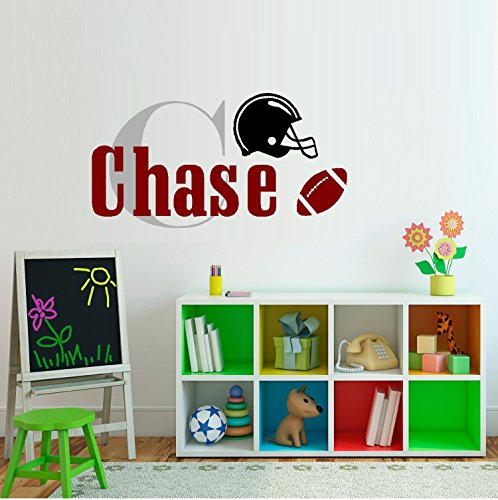 """Decal ~ Football (Custom Name) Monogram #2: Children, Sports, Wall Decal 13"""" x 26"""" (Ball on Right)"""
