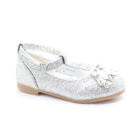 Little Girls Silver Glitter Bow Adorned T-Strap Dress Shoes](Dress Up Shoes Girls)