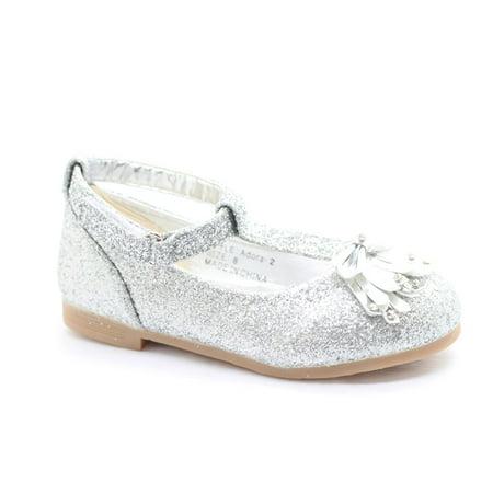 Little Girls Silver Glitter Bow Adorned T-Strap Dress Shoes ()