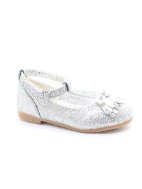 e41d3b61a70e Product Image Little Girls Silver Glitter Bow Adorned T-Strap Dress Shoes