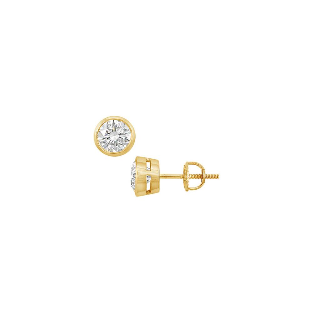 14K Yellow Gold Bezel Set Round Diamond Stud Earrings 0.50 CT. TW. - image 2 of 2