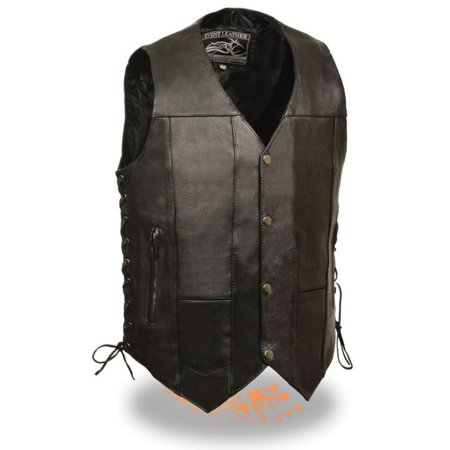 Milwaukee Leather Event Men's 10 Pocket Side Lace Vest  Black (Authentic Black Leather Vest)