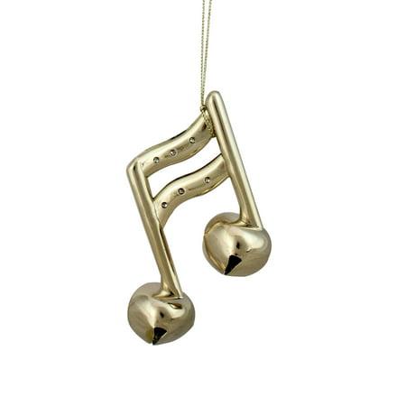 "Ganz 4.25"" Sixteenth Musical Note Jingle Bell Christmas Ornament - Gold"