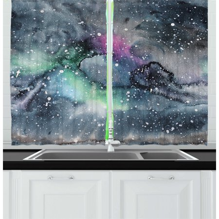 Psychedelic Curtains 2 Panels Set, Space Galaxy Inspired Hazy Grunge Modern Celestial Cosmic Fantasy Design Print, Window Drapes for Living Room Bedroom, 55W X 39L Inches, Multicolor, by Ambesonne