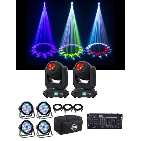 2) Chauvet DJ Intimidator Beam 140SR Moving Heads+4) Pars+Cables+Bag+Controller