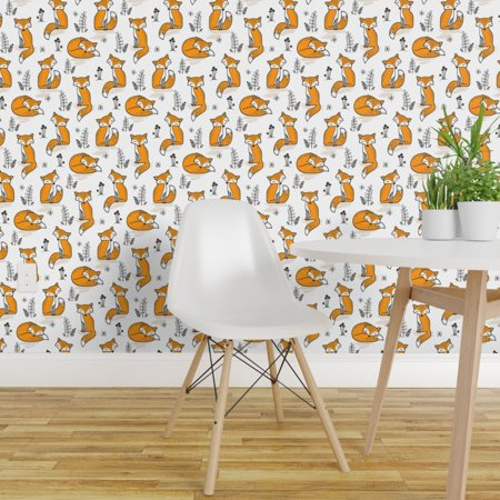 Removable Water Activated Wallpaper Woodland Cute Animals Fox Foxes Au