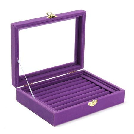 Jewelry Velvet Wood Ring Display Organizer Box Tray Holder