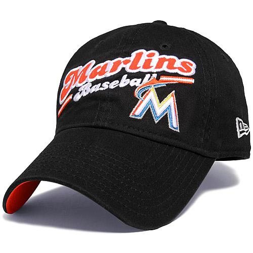 Miami Marlins New Era Women's Script Sport 9FORTY Adjustable Hat - Black - OSFA
