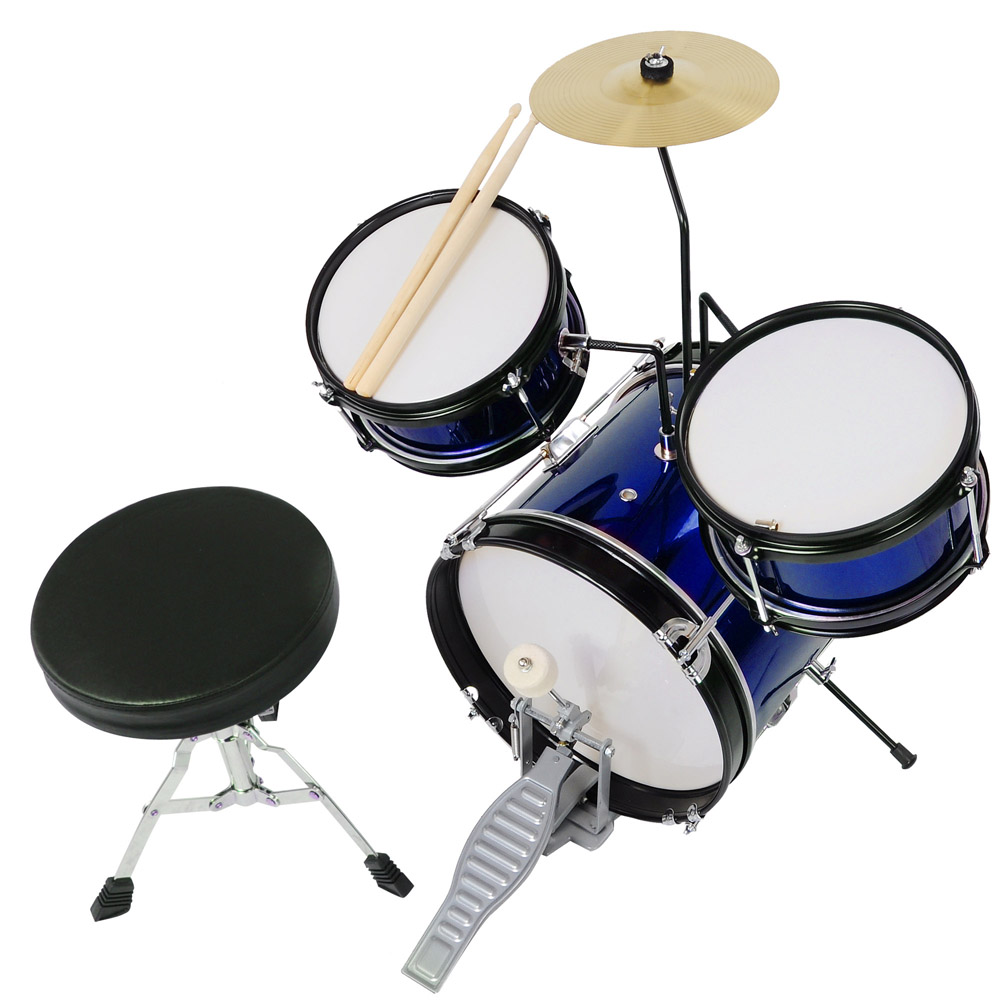 3pcs Junior Kids Child Drum Set Kit Sticks Throne Cymbal Bass Snare Boy Girl by Yescom