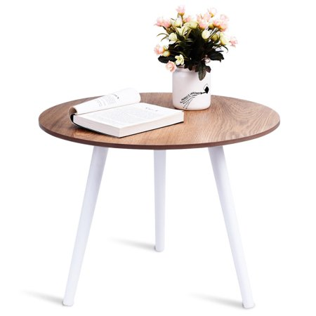 Costway Modern Round Coffee Table Side Tea End Table Pine Furniture Dining Living Room