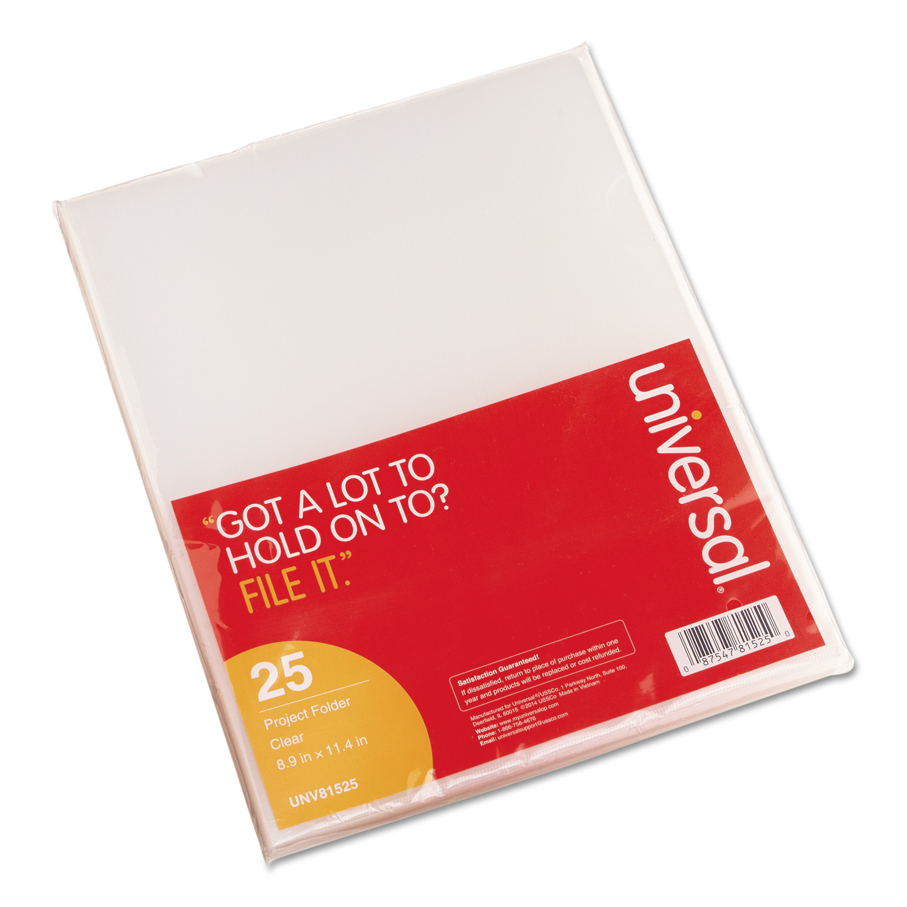 Universal Project Folders, Jacket, Poly, Letter, Clear, 25/Pack -UNV81525