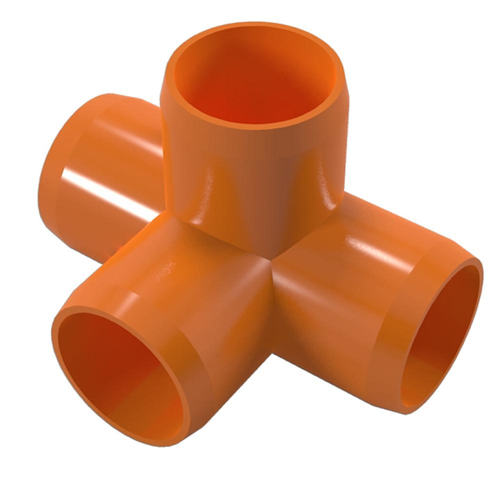 "4-Way PVC Tee Fitting, Furniture Grade, 1/2"" Size, White (Pack of 4)"