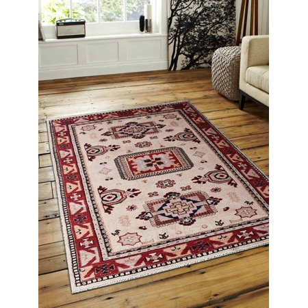 Rugsotic Carpets Hand Knotted Afghan Wool And Silk 8'x10' Area Rug Kazak Cream Red