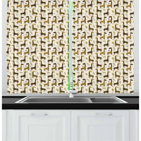 Jungle Themed Curtains (Giraffe Curtains 2 Panels Set, Exotic Jungle Mammals Pattern for Kids Cheerful Woodland Theme Flowers and Leaves, Window Drapes for Living Room Bedroom, 55W X 39L Inches, Multicolor, by)