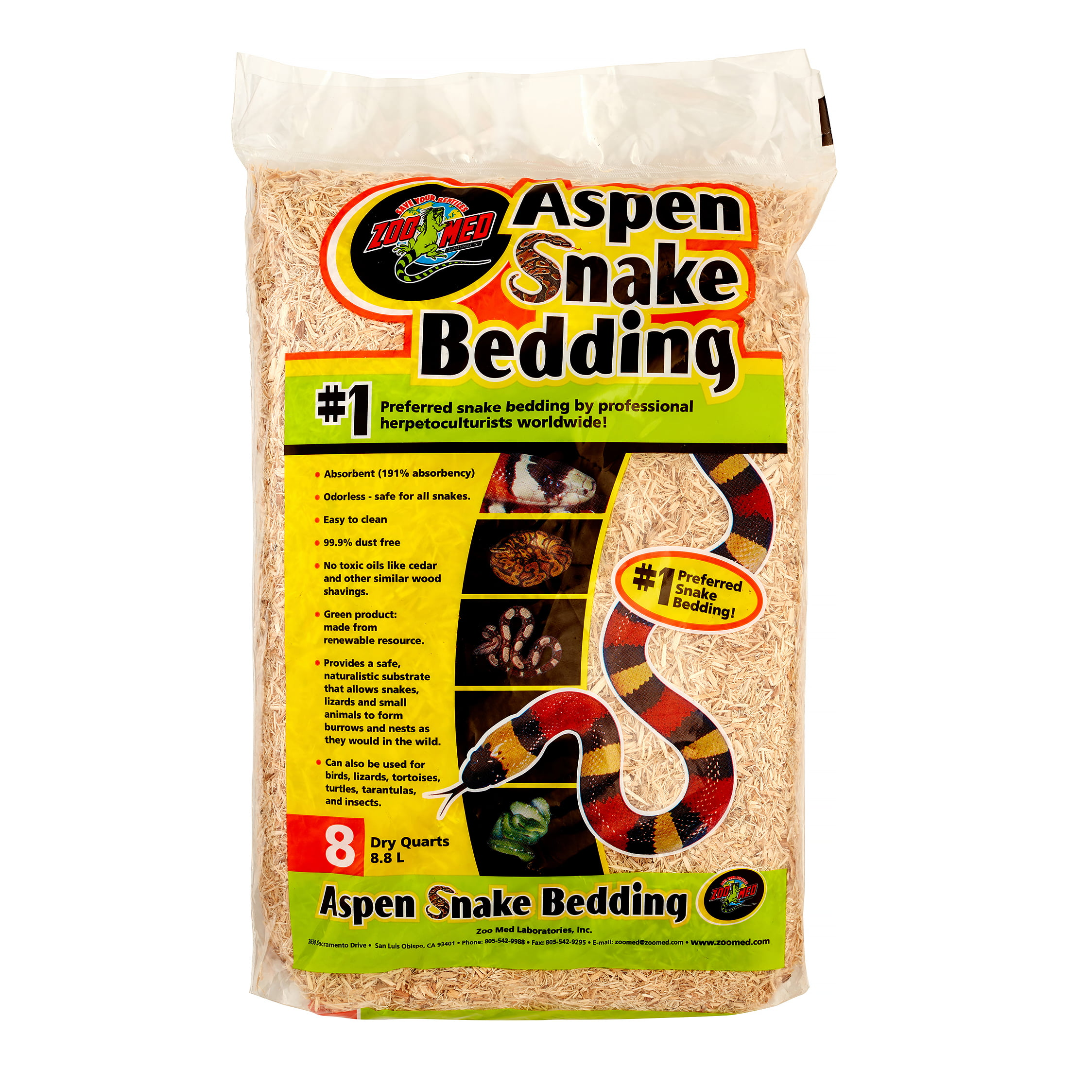 Zoo Med Aspen Snake Bedding, 8 Qt by ZOO Med LABORATORIES INC