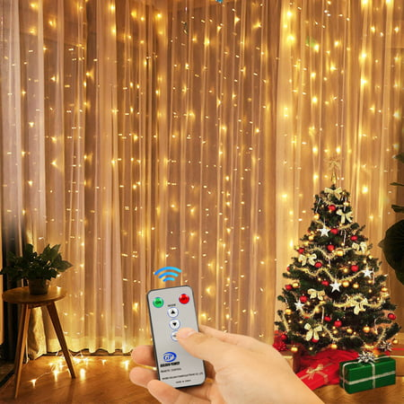 Outdoor Decorations Lights (Kohree 300 LED Window Curtain Lights, String Light with Remote Control Outdoor Indoor Decoration for Bedroom, Garden, Warm White, 8 Mode)