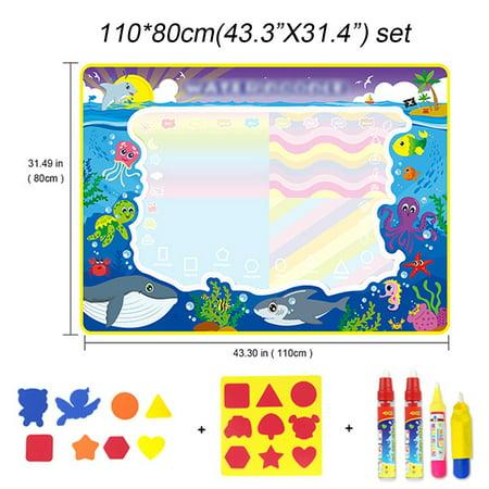 3Size Christmas Aqua Doodle Children Water Drawing Toys Painting Mat Magical Pen Educational Toy 1 Mat+ Water Drawing Pen - image 6 de 9
