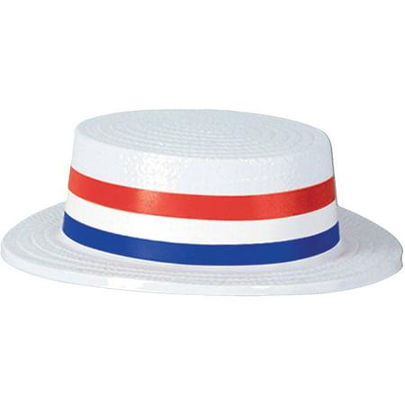 Skimmer Hats (6-Pack White Skimmer Hats Adult Halloween)