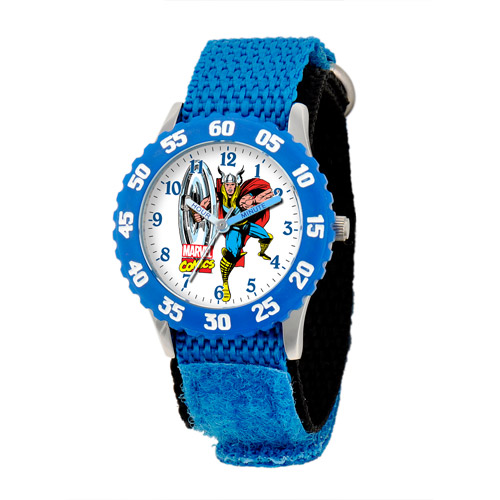 Marvel Thor Boys' Stainless Steel Time Teacher Blue Bezel Watch, Blue Nylon Strap