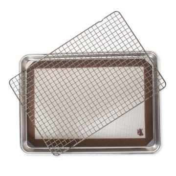 Nordic Ware 3 Piece Cookie Baking Set, Aluminum baking sheet, PFOA- Free nonstick steel grid, and silicone mat, Lifetime Warranty, 7.75
