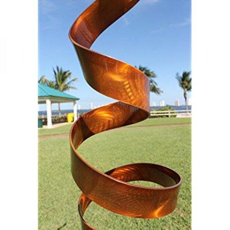 Copper Garden Sculpture - Abstract Modern Copper Freestanding Metal Yard Garden Sculpture - Contemporary Indoor/Outdoor Decor Painted Art - Copper Wisp by Jon Allen